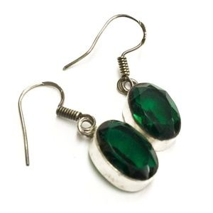 Jewelry - Green Quartz Crystal + Sterling Silver earrings